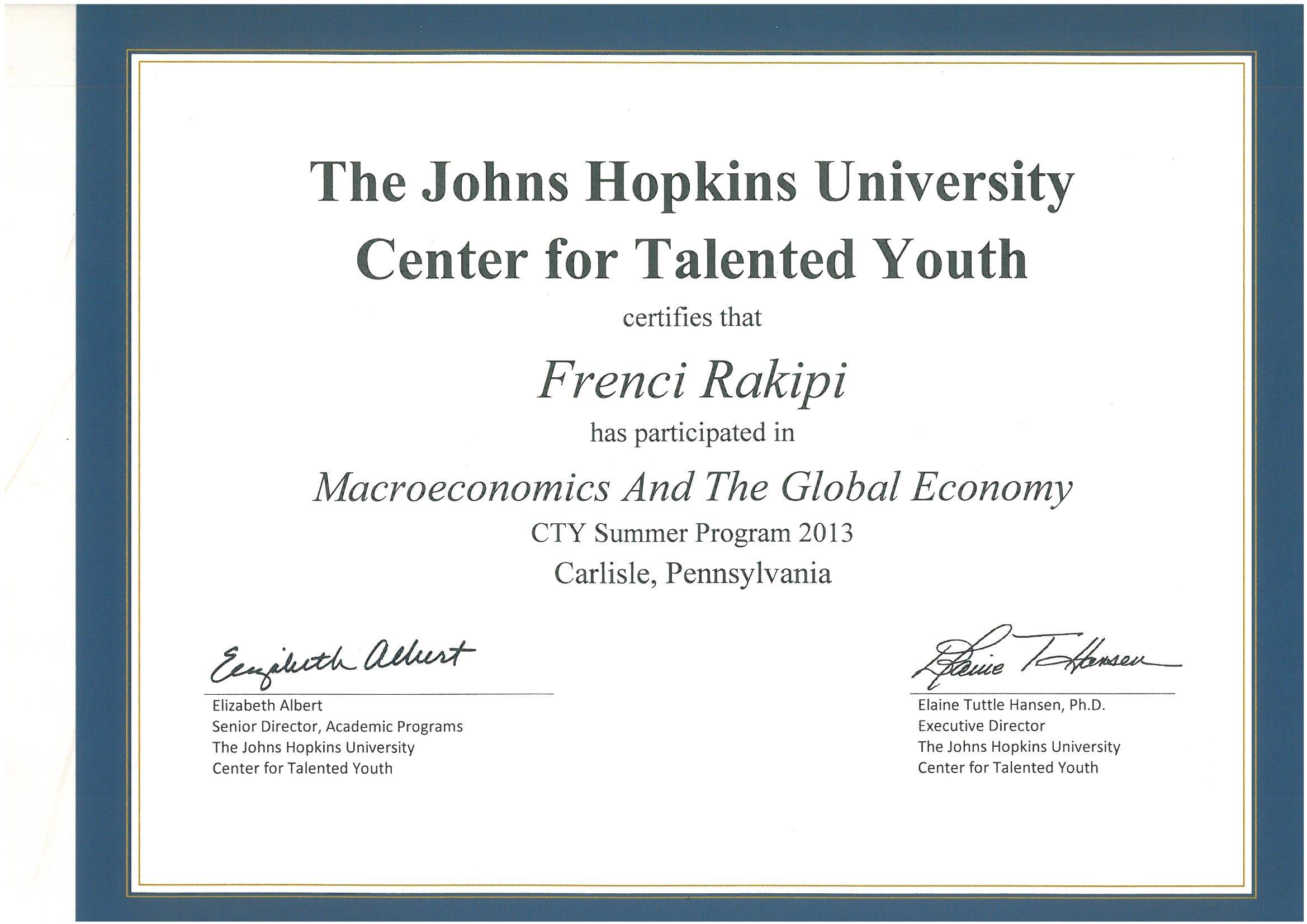Certifikata e kursit 3 javor qe ndoqa ne Pensilvani, SHBA