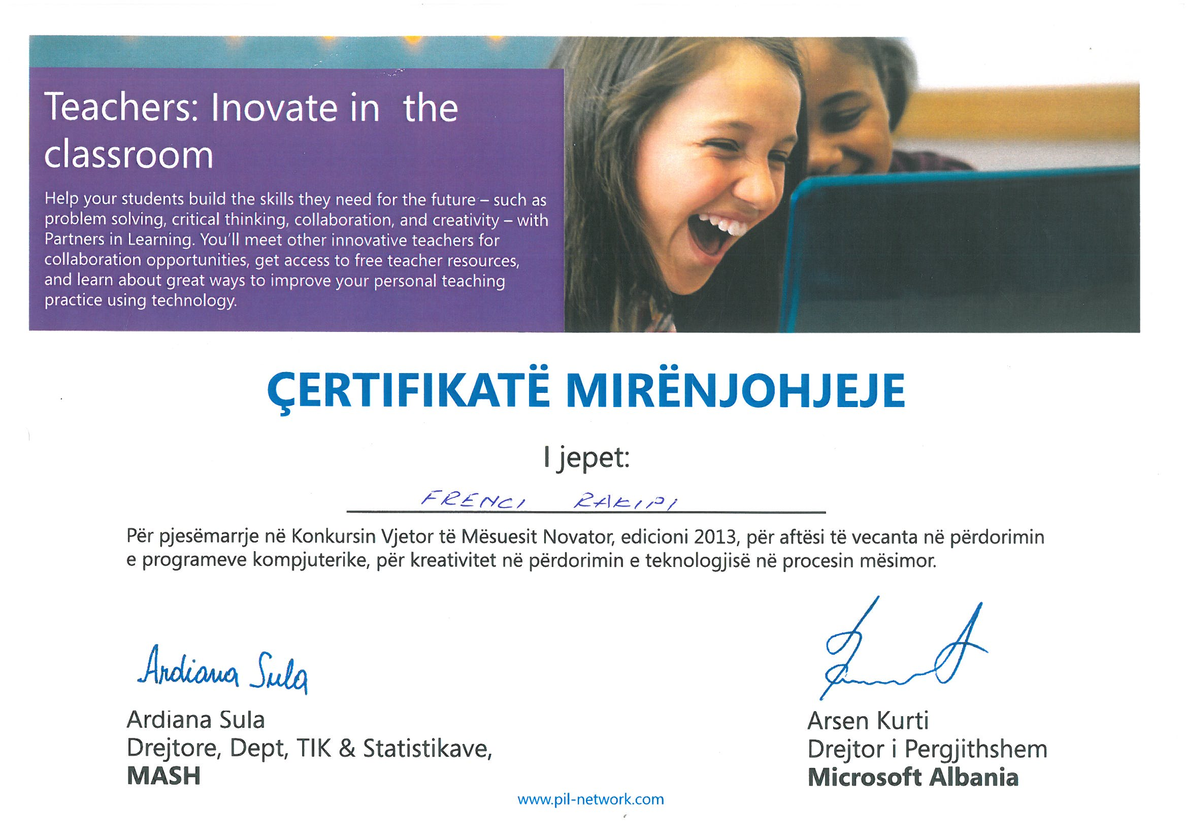 Certifikata e fituar ne konkursin e Microsoftit
